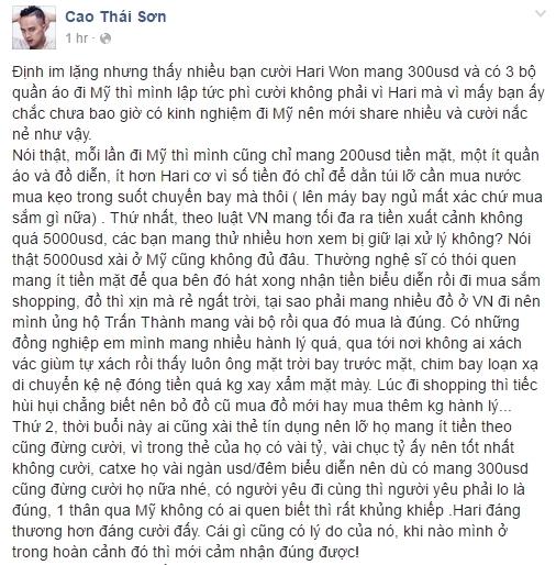 """Nhiều nghệ sĩ Việt lên tiếng bảo vệ Hari Won trước """"tâm bão"""", trong đó có nam ca sĩ Cao Thái Sơn. - Tin sao Viet - Tin tuc sao Viet - Scandal sao Viet - Tin tuc cua Sao - Tin cua Sao"""