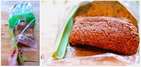 Cho một nhánh cần tây vào trong túi giấy đựng bánh mì, bánh mì sẽ tươi ngon lâu hơn. (Ảnh: Internet)