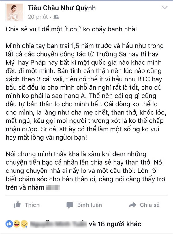 """Chia sẻ của nữ ca sĩ Tiêu Châu Như Quỳnh được cho rằng đang có ý """"đá xéo"""" đàn chị? - Tin sao Viet - Tin tuc sao Viet - Scandal sao Viet - Tin tuc cua Sao - Tin cua Sao"""