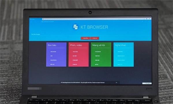 Giao diện trình duyệt KT Browser. (Ảnh: internet)