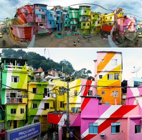Với sự giúp sức của 2 nghệ sĩ người Hà Lan và một công ty sơn, cư dân khu ổ chuột Santa Marta đã hóa phép cho một nơi từng rất tăm tối vì ma túy và tệ nạn xã hội thành một không gian tươi sáng và đáng sống.(Ảnh: Internet)