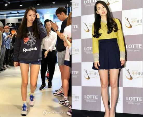Sohee (cựu thành viên Wonder Girls) cũng là thần tượng nữ sở hữu đôi chân thẳng không vết gợn, vừa phải và trắng trẻo.