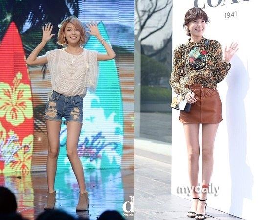 Sở hữu chiều cao ấn tượng, Sooyoung sở hữu đôi chân không những dài mà còn thẳng tắp. Tuy nhiên cặp đùi của cô lại luôn trong tình trạng gầy như cây gậy.