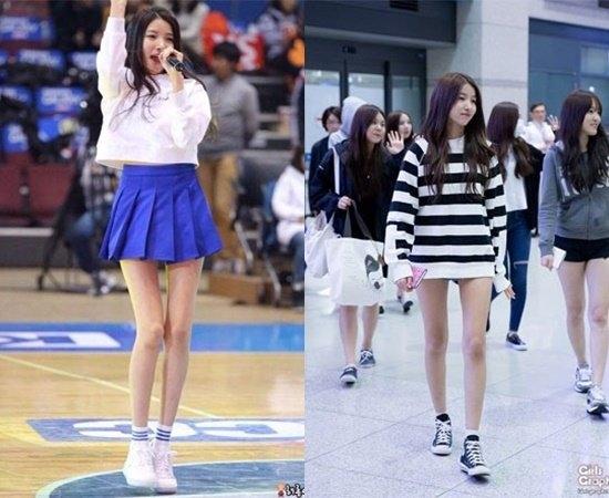 Sowon, chân dài nổi bật của G-Friend, cũng sở hữu đôi chân dài và thẳng. Tuy nhiên, đôi khi cặp đùi của nữ thần tượng lại khiến khán giả e sợ vì gầy tong teo.
