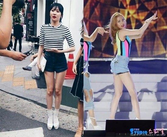 ... và Sunmi của Wonder Girls đều sở hữu đôi chân với đầu gối củ lạc và khá nhăn nheo.