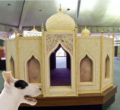 """Lấy ý tưởng từ cung điện Taj Mahal của Ấn Độ, ngôi nhà cho cún này có tên là Pawj Mahal. Với trị giá 40.000$ (hơn 892 triệu đồng), Pawj Mahal được cho là rất thích hợp để những """"hoàng tử - công chúa"""" nhà cún ở vào khoảng thời gian cuối đời. Đây cũng là một hình thức để người chủ bày tỏ sự ghi nhớ về lòng trung thành cũng như những gì mà cún yêu đã đem đến cho họ trong cả cuộc đời chúng. (Ảnh Barkpost)"""