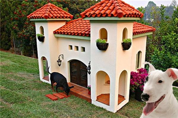 """Đây là một cái """"dinh thự"""" sang trọng cho cún trên sườn đồi California (LA, California, Mỹ) có giá đến 30.000$ (khoảng 669 triệu đồng). Bạn có thấy hai cái tháp trong hình không? Mỗi cái như vậy là một căn phòng chờ nho nhỏ, được lát loại gạch mát để ngày nắng cũng thấy thoải mái đấy. (Ảnh Barkpost)"""