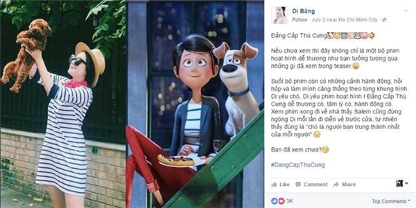 """Hay như cô nàng Băng Di chia sẻ: """"Băng Di nhớ tới chú chó cưng của mình khi xem phim""""."""