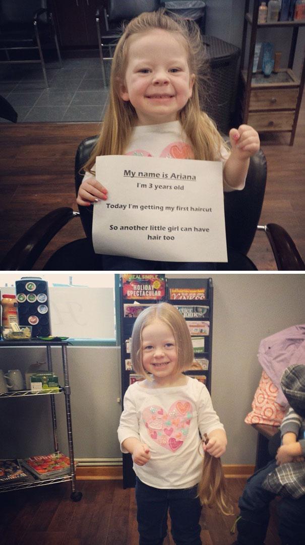 Ariana đã gặp 1 cô bé bị ung thư. Cô bé hỏi mẹ tại sao bạn ấy lại không có tóc. Mẹ em giải thích rằng vì bạn ấy bị ốm và phải dùng đến thuốc nên tóc của bạn ấy mới bị rụng hết. Từ đó, cô bé đã quyết định tặng đi mái tóc của mình cho bệnh nhân ung thư. Khi đó, Ariana mới lên 3 tuổi.