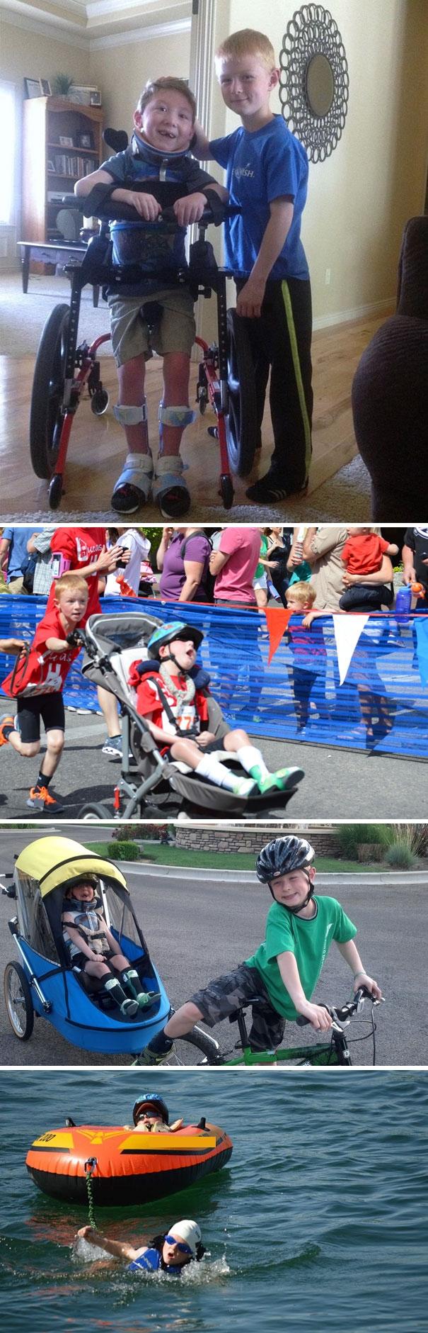 Cậu bé Lucas Aldrich mắc chứng thần kinh hiếm gặp, không có khả năng bước đi trên đôi chân của mình. Để tiếp thêm niềm tin cho em trai, Noah đã đăng kívà cùng em hoàn thành cuộc thi 3 môn phối hợp gồm bơi 200m, đạp xe 5km và chạy 1,6km trong 54 phút.