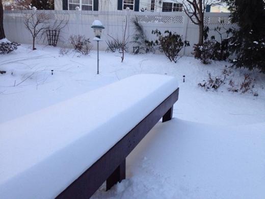 Tuyết đóng một cách vừa vặn với băng ghế.