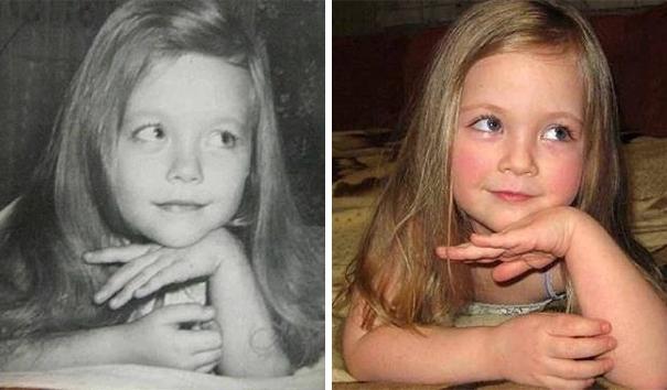 Ảnh hai bà cháu nhưng trông rất giống ảnh chụp cùng một người, chỉ khác là đã được chỉnh sang tông đen trắng thôi đúng không?