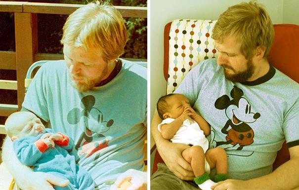 Cả gia đình từ ông đến bố đến cháu trai quả thật chỉ là từ một khuôn đúc ra thôi. (Ảnh: Internet)