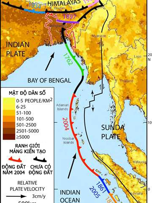 Ranh giới mảng kiến tạo cho thấy những đoạn từng xảy ra động đất. Các đoạn màu đen chưa từng bị động đất trong lịch sử nhưng có khả năng sẽ xảy ra trong tương lai gần. (Ảnh: Michael Steckler)