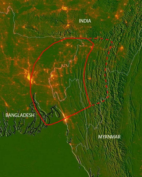 Khu vực nằm trong đường viền liền màu đỏ chắc chắn sẽ chịu hậu quả nặng nề nhất từ động đất, còn khu vực được bao bởi đường viền đứt đoạn màu đỏ sẽ có khả năng bị ảnh hưởng. (Ảnh: Michael Steckler)