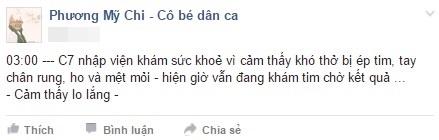 Dòng chia sẻ trên fanpage của Phương Mỹ Chi lúc 3 giờsáng khiến fan vô cùng lo lắng. - Tin sao Viet - Tin tuc sao Viet - Scandal sao Viet - Tin tuc cua Sao - Tin cua Sao