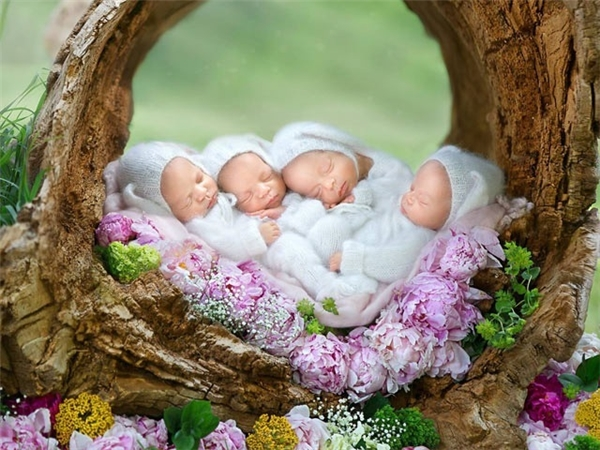 4 bé đáng yêu trong trang phục của những chú thỏ trắng.