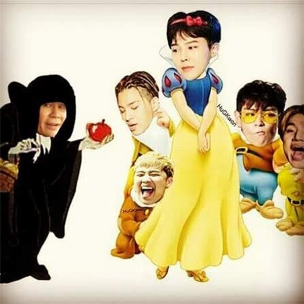 """""""Công chúa G-Dragon và 4 chú lùn"""" còn mụ phù thủy là bố Yang."""
