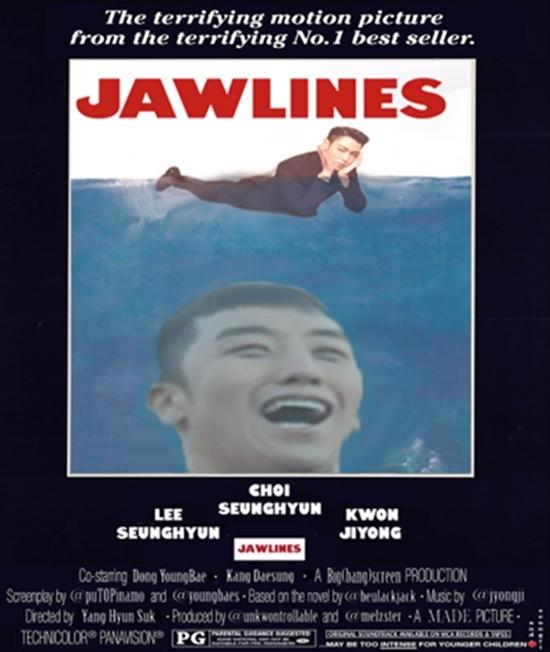 Bản mặt ngố đần của Seungri mà làm cá mập thì chắc các nạn nhân cười sặc nước mà chết mất.