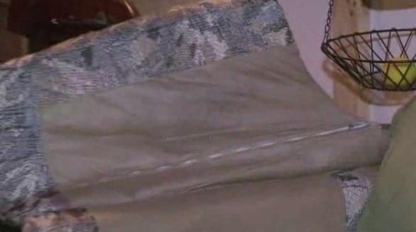Họ bất ngờ phát hiện một phong bì nhựa chứa đầy tiền mặt bên trong chỗ gác tay của chiếc ghế.