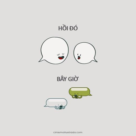 Các cuộc nói chuyện, giao tiếp trực tiếp giữa người với người nay đã được thay thế bằng những đoạn chat và những kí tự cảm xúc.