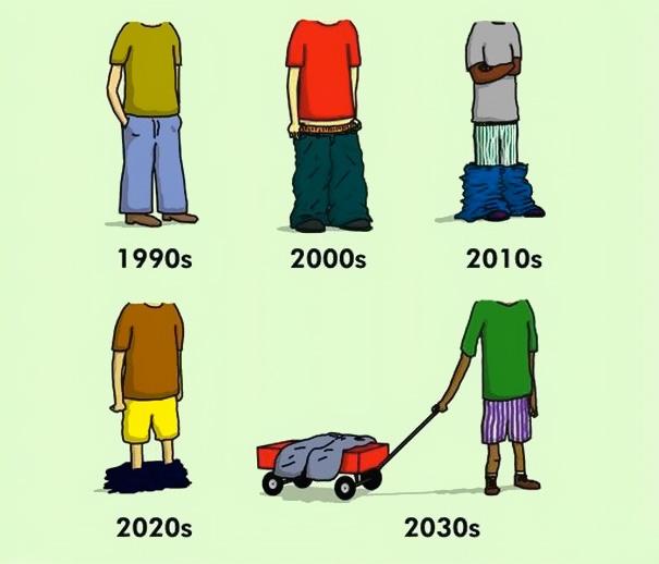 Sự tiến hóa của chiếc quần: càng tiến hóa càng tụt.