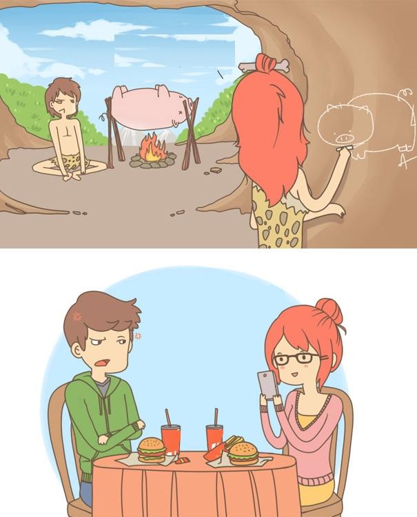 Bữa ăn của thời đồ đá và thời smartphone.