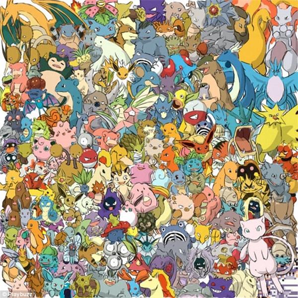 """Kết hợp giữa trò chơi đang """"nóng bỏng tay"""" hiện nay: Pokémon Go, và trò """"xưa như Trái đất"""" tìm vật trong ảnh, các bạn hãy ngắm xem chú Pikachu siêu dễ thương đang """"núp lùm"""" ở đâu trong bầy """"quái thú"""" này nhé. (Ảnh Playbuzz)"""