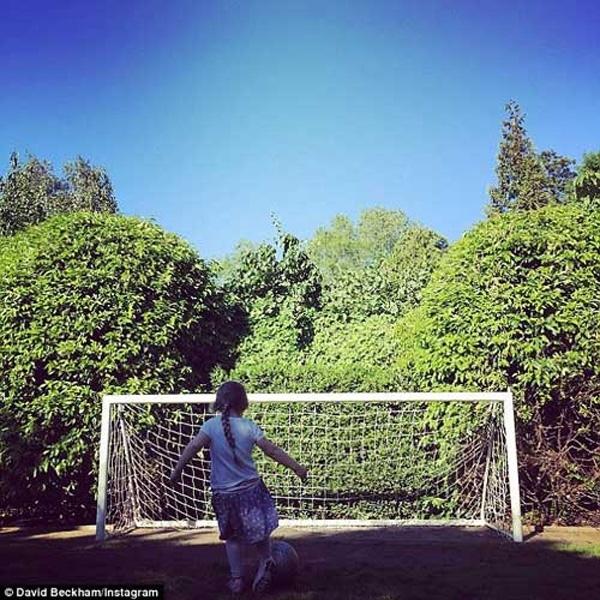 Hình ảnh Harper mặc váy chơi bóng được David chia sẻ trên mạng.