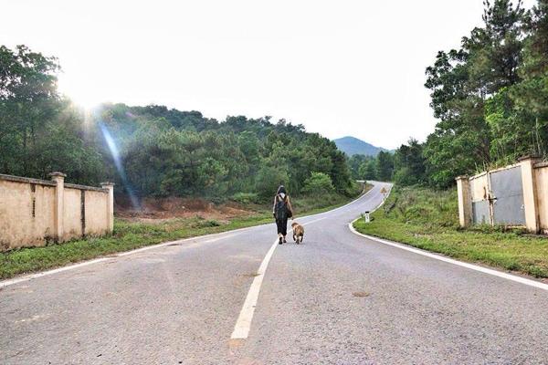 Huyền Trang cùng bạn đồng hành trên đường đến đền Gióng.