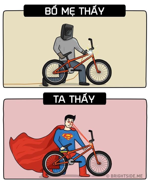 Ông bố vĩ đại của thế kỉchẳng khác gì siêu nhân khi sửa giúp các con chiếc xe đạp.