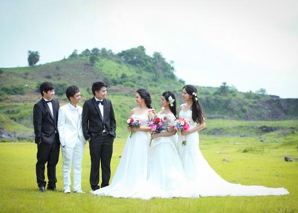 Việc chuẩn bị và chụp ảnh cưới được tiến hành nhanh gọn trong đúng 1 tuần sau khi 3 cô dâu về nước.