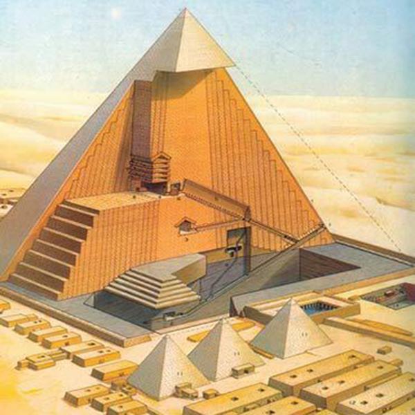Mặt cắt cho ta dễ dàng hình dung cấu trúc bên trong của Kim tự tháptính cho đến thời điểm hiện tại.(Ảnh: Internet)