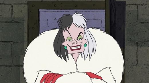 """Động cơmà Cruella De Vilsăn đuổi 101 chú chó đốm chỉ để lột da làm áo choàng lông cho thấy mụ là một kẻ đê hèn độc ác và cực kì tham lam. Nếu những nhân vật phản diện khác còn có chút nhân tính thì ởCruella De Vil đã hoàn toàn mất hẳn. Chính cái tính """"xấu toàn diện"""" này mà mụ được xếp vào danh sách kẻ ác nổi tiếng của hoạt hình Disney."""