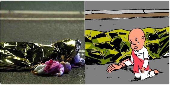 Bức tranhđượchọa sĩ nổi tiếng Brazil - Carlos Latuff vẽ ra nhằm bày tỏ sự đau lòng cho đứa bé gái vô tội. (Ảnh Twitter)