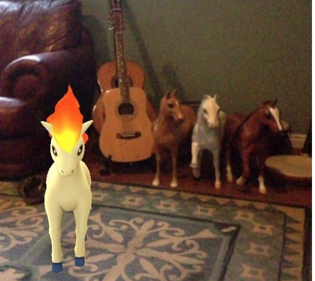 Vì mải mê vui chơi với đồng bọn mà chú Pokemon ngựa này đã bị con người phát hiện và sắp sửa bị tóm gọn.