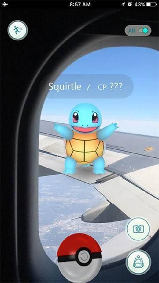 Có nên... nhào ra cánh máy bay để bắt em Pokemon rùa dễ thương đó không?