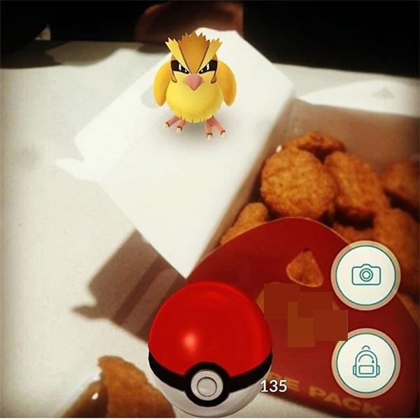 """Em Pokemon gà """"đáp"""" thật không đúng chỗ này tốt hơn là nên chạy đi kẻo lại có kết cục như đồng loại là mấy em gà rán bên cạnh."""