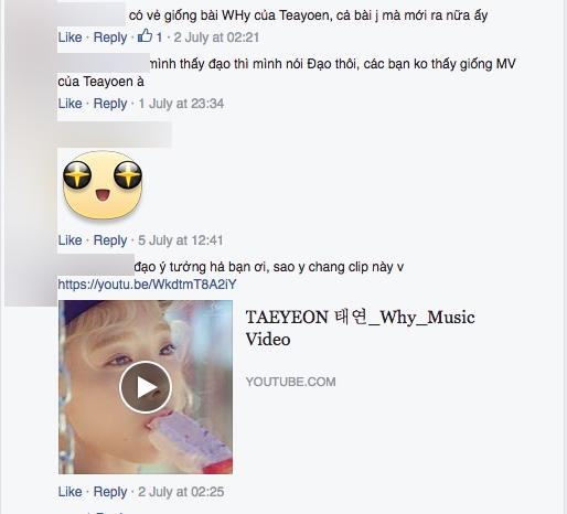 Một vài ý kiến trái chiều của cộng đồng mạng cho rẳng sản phẩm mới của Việt My đạo ý tưởng MV Why - Taeyeon.