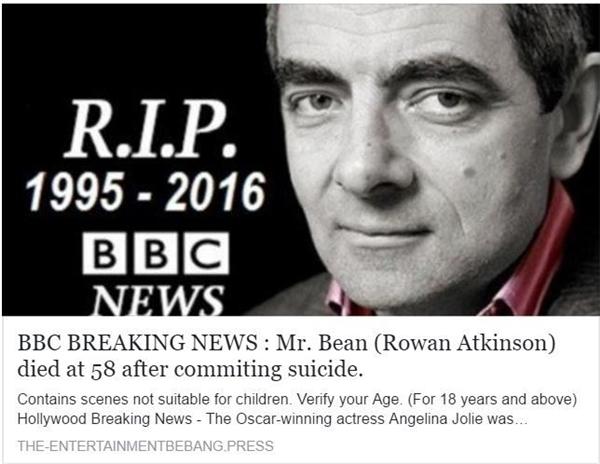 Người tung tin đồn không chỉ viết sai năm sinh của Atkinson mà còn không buồn sửa số tuổi 58 của ông xuất hiện từ tin đồn cũ.