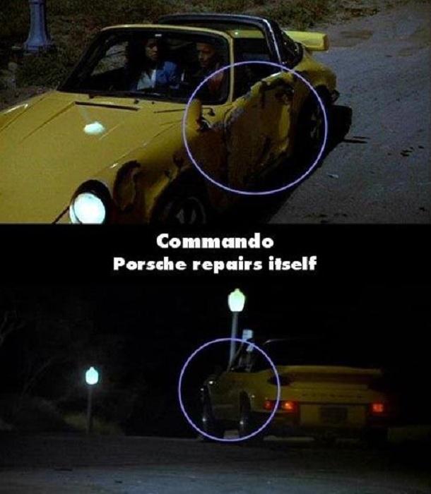 Trong phim Biệt kích, sau cảnh đuổi bắt, cánh cửa chiếc xe đang bị dập nát lại trở nên lành lặng như mới.