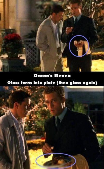 Cùng trong một cảnh quay của 11 tên cướp thế kỉ, lirượu trên tay Brad Pitt bỗng đổi thành một đĩa hoa quả.