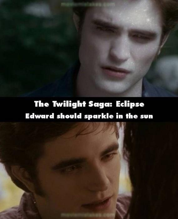 Trong phim Twilight, khi Edward và Bella ngồi dưới cánh đồng ngập nắng, da của chàng ma cà rồng không hề bị chuyển sang màu trắnglấp lánh.