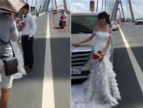 Chiếc xe máy phải đi sang làn ô tô để tránh cặp đôi cô dâu chú rể đang tạo dáng.(Ảnh: Internet)