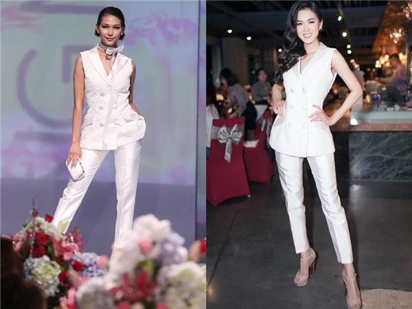 Suit cách điệu diện cùng quần âu ống suông với sắc trắng làm chủ đạo phù hợp với Ngọc Loan hơn là Diệp Linh Châu. 2 thí sinh này cùng thuộc đội Phạm Hương.