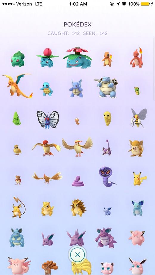 Nick khoe chiến tích bắt trọn 142 Pokemon tại Mỹcủa mình lên mạng.