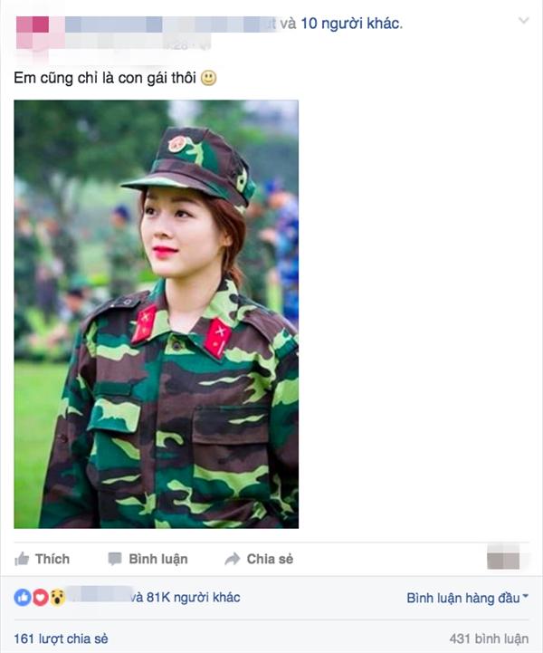 Chỉ sau ít giờ đăng tải, bức ảnh cô quân nhânđã thu hút hơn 81.000 lượt thích và rất nhiều bình luận. (Ảnh: Internet)