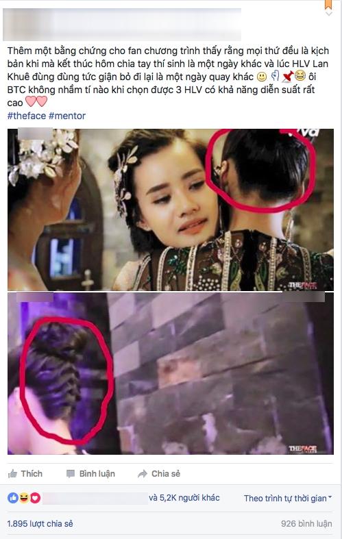 Hình ảnh được một trang mạng xã hội nêu lên điểm bất hợp lí ở hành động Lan Khuê khóc nức nở và bỏ ra xe.