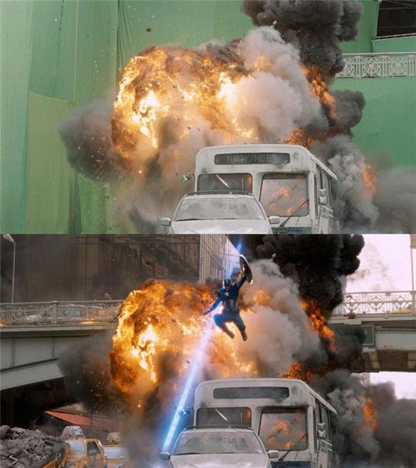 Hệ thống phông xanh được dựng phía sau màn cháy lửa của ô tô. Với cảnh nguy hiểm như thế này, các diễn viên không cần xuất hiện. Tuy nhiên, khi lên phim, phần phông xanh sẽ được xử líthành khung cảnh thành phố bị tấn công và Captain America xuất hiện trên không trung như vừa thoát khỏi đám cháy.