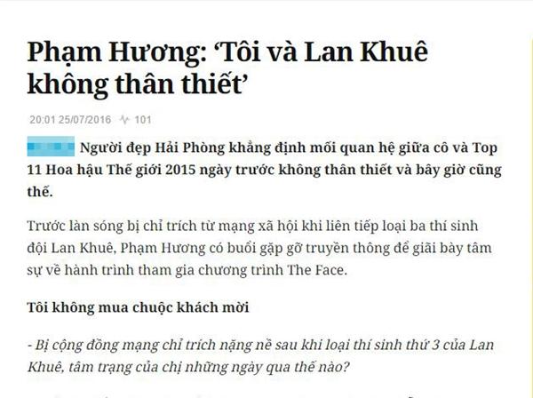 Phạm Hương lại phát ngôn mâu thuẫn về mối quan hệ với Lan Khuê
